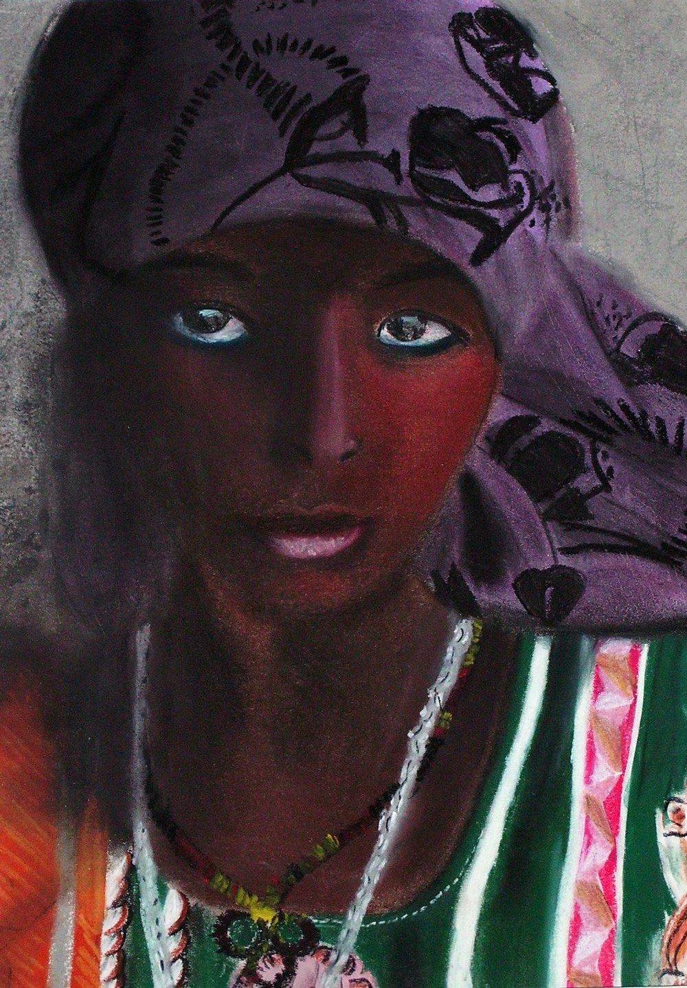 portrait femme aux pastels sec par Alice Gerfault