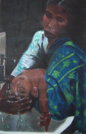 Bain au Bengladesh aux pastels secs par Alice Gerfault