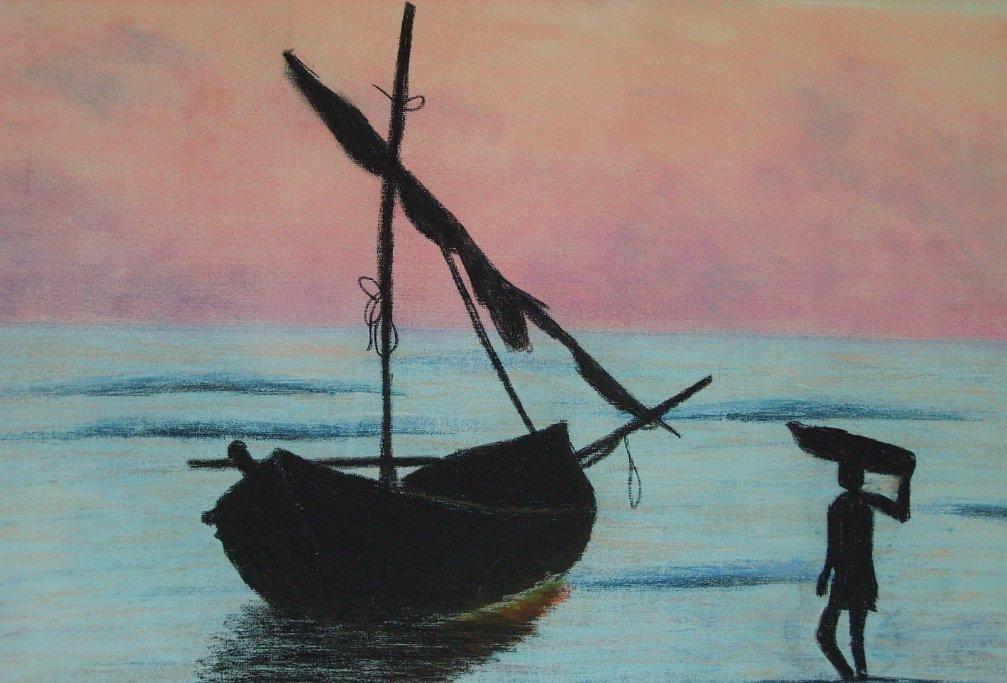 Bateau au coucher du soleil aux pastels secs par Alice Gerfault