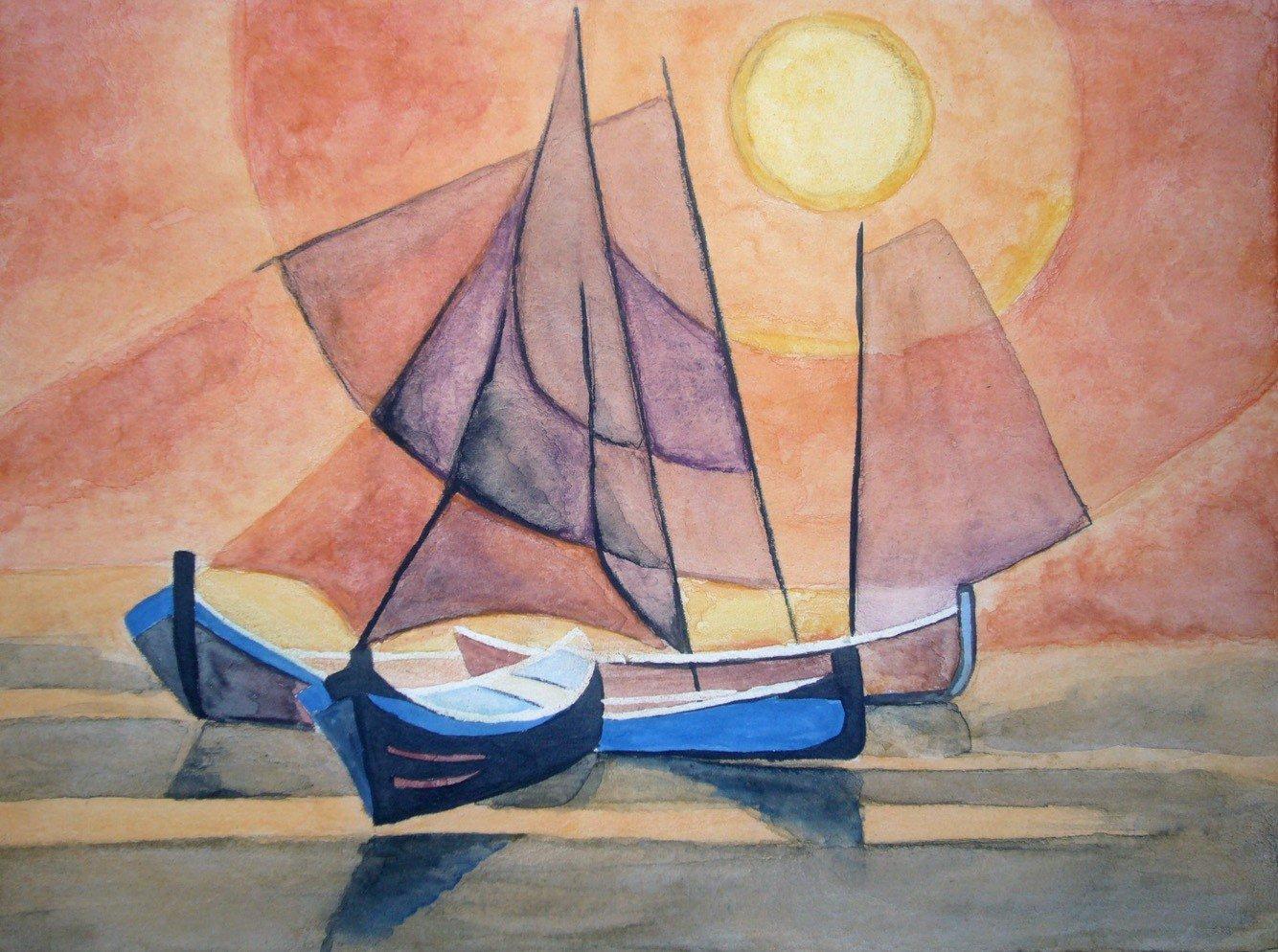 Reproduction de Navires II de Toffoli l'Aquarelle par Alice Gerfault