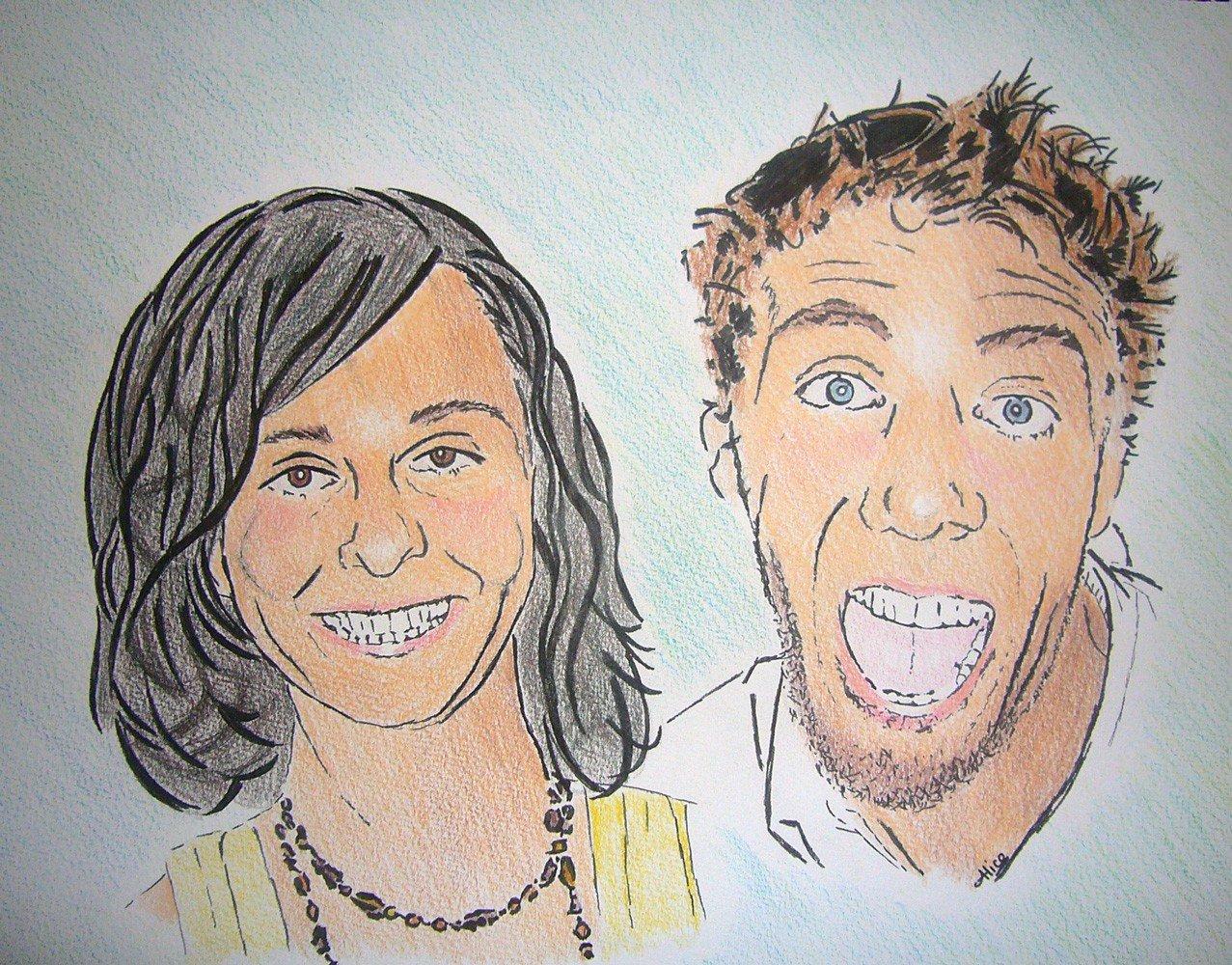 Juju et Thomas au feutre et crayons de couleur style bd par Alice Gerfault