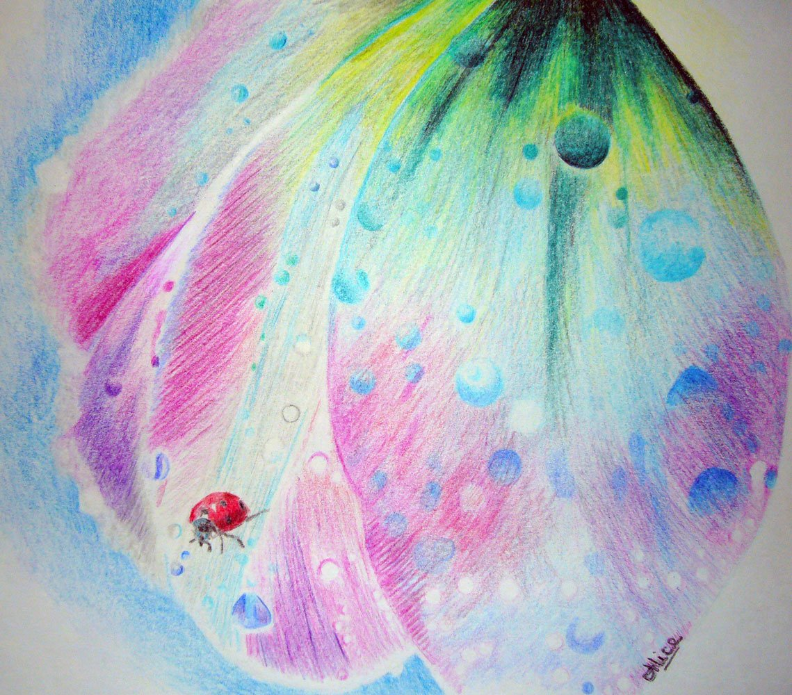 Après la pluie aux crayons de couleur par Alice Gerfault