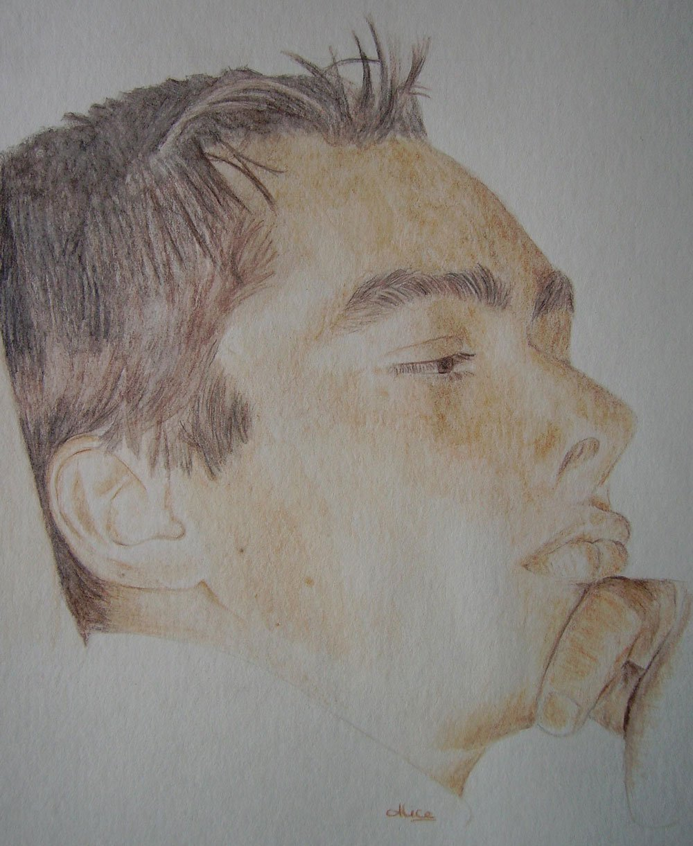 Portrait d'Anthony aux crayons de couleurs aquarellables par Alice Gerfault