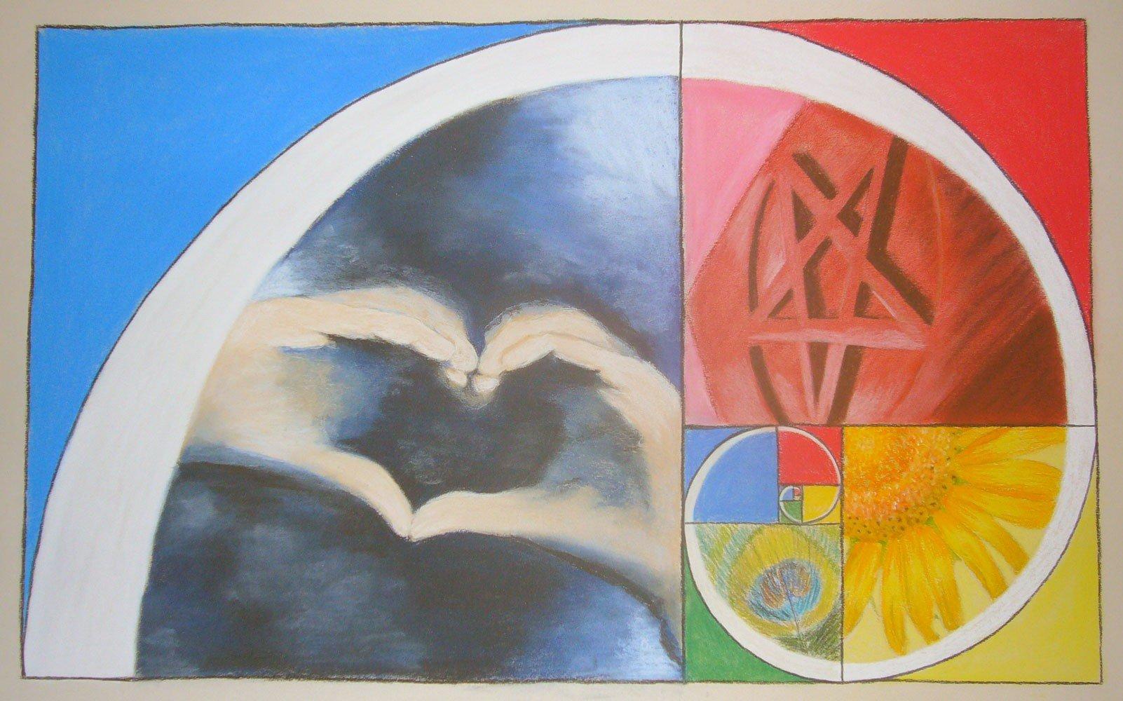 Spirale de Fibanocci aux pastels secs par Alice Gerfault