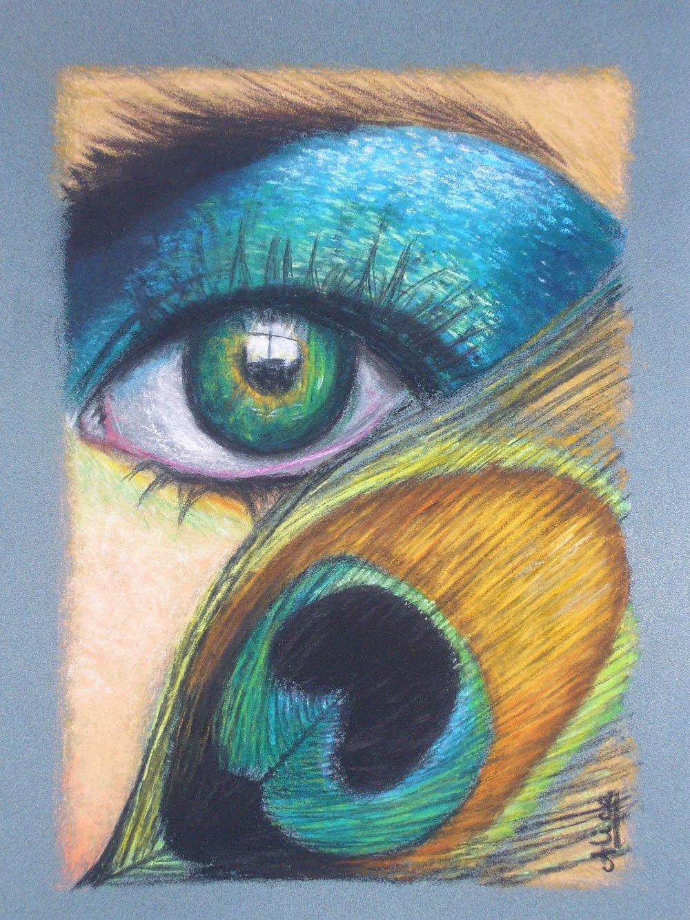Peacock Eyes aux pastels secs par Alice Gerfault