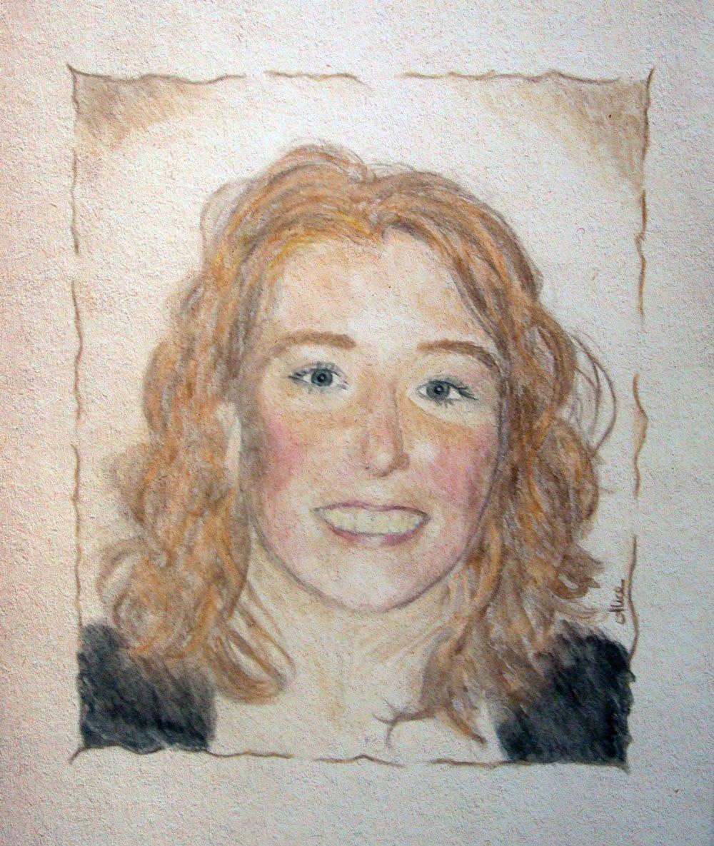 Portrait de Célia aux crayons de couleur aquarellables par Alice Gerfault