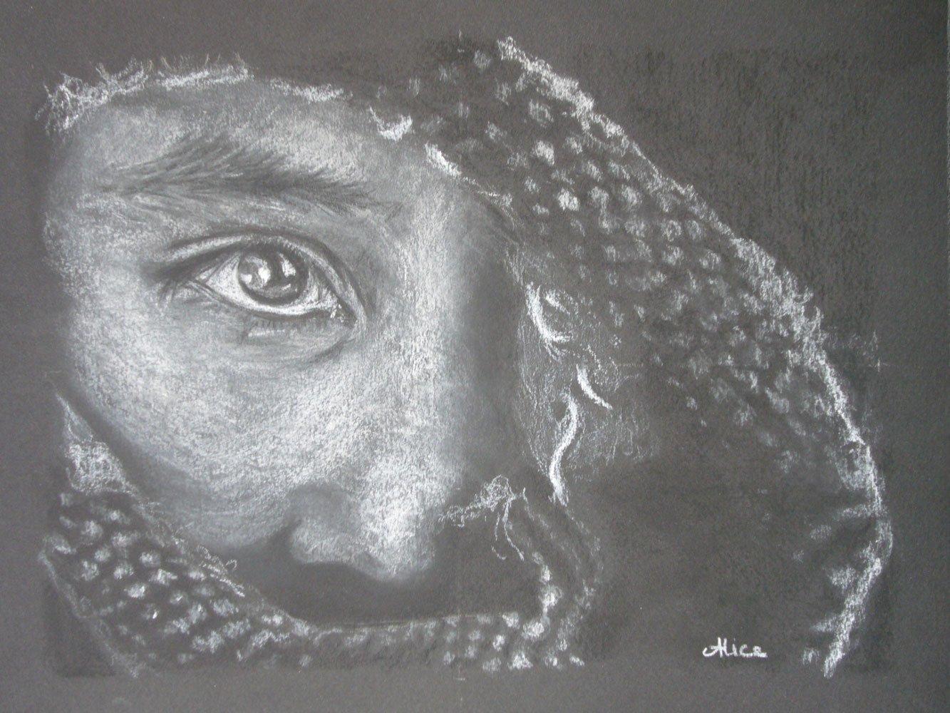 Hidden Face, dessin aux pastels secs, par Alice Gerfault