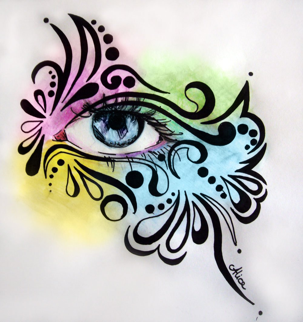 Rainbow Eye, aux crayons de couleurs aquarellables, par Alice Gerfault