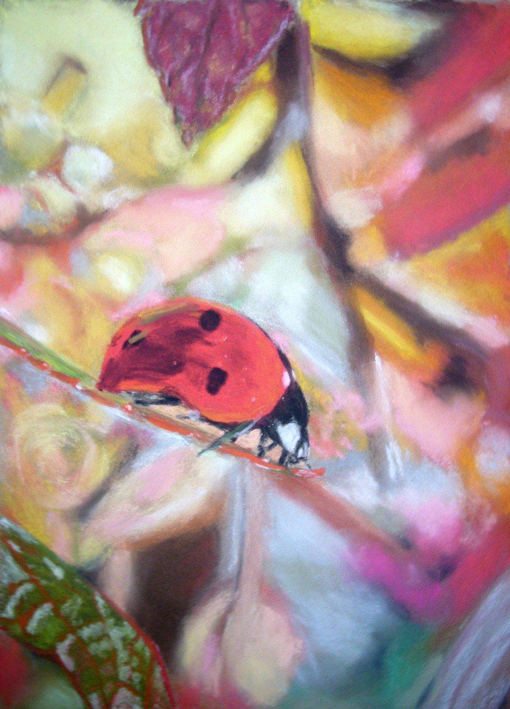 coccinelle aux pastels secs par Alice Gerfault