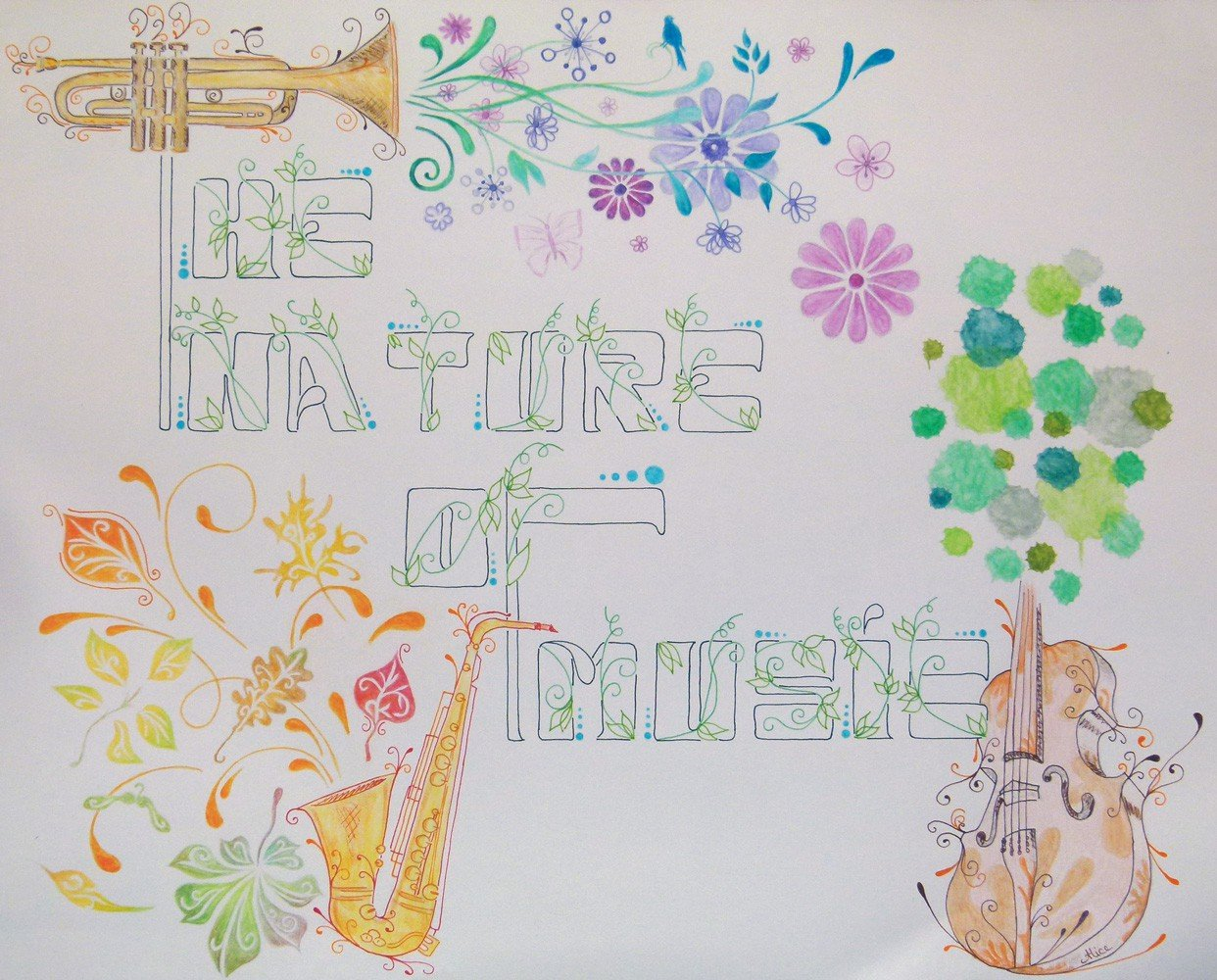 The nature of music, aux crayons de couleurs aquarellables, par Alice Gerfault