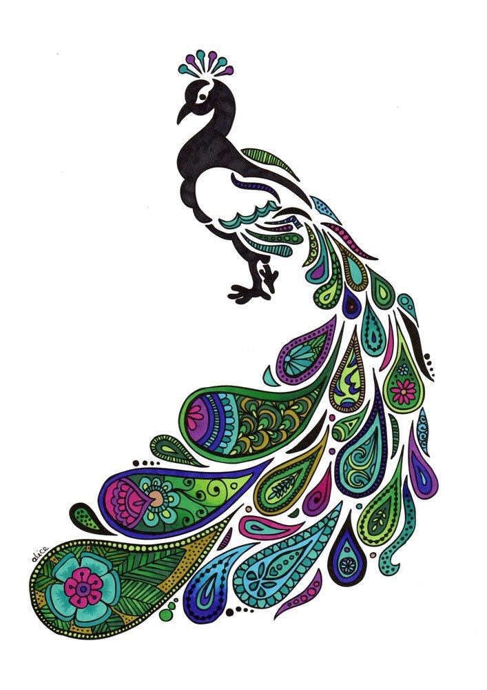 page de coloriage paon au plumage paisley alice gerfault. Black Bedroom Furniture Sets. Home Design Ideas
