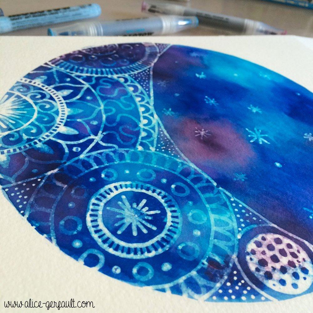 Doodle Mandala Espace réalisé aux feutre Molotow Aqua Twin, par Alice Gerfault