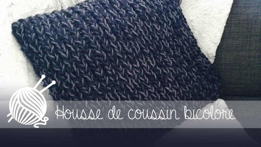 housse de coussin bicolore au tricot alice gerfault. Black Bedroom Furniture Sets. Home Design Ideas