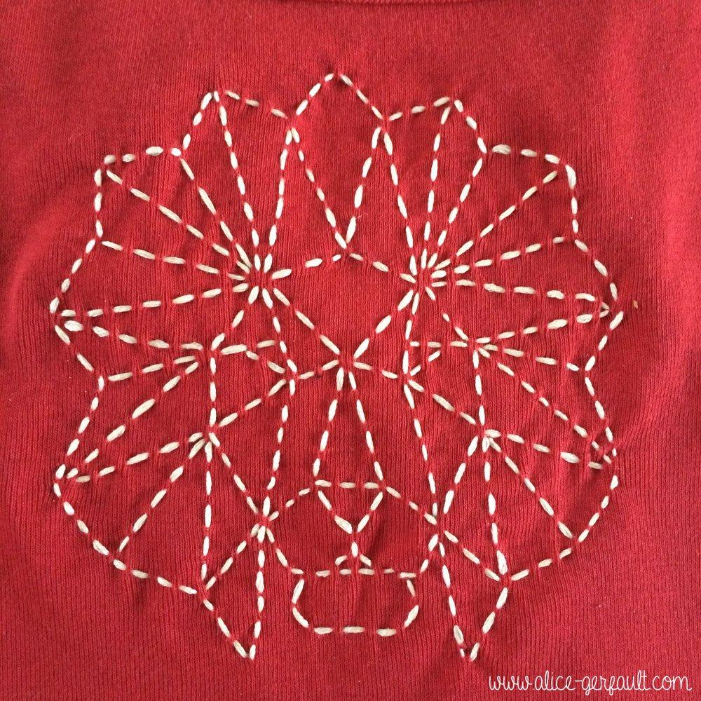 Broderie d'un lion géométrique pour customiser un t-shirt, DIY par Alice Gerfault