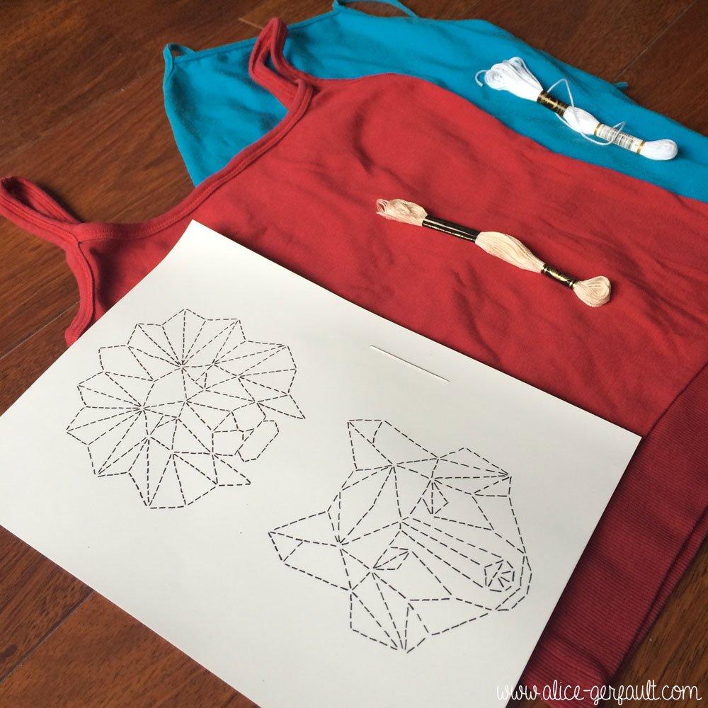 Matériel pour customiser un t-shirt avec un animal géométrique brodé, DIY par Alice Gerfault