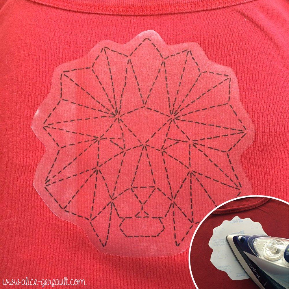 Transferer le motif pour customiser un t-shirt avec un animal géométrique brodé, DIY par Alice Gerfault