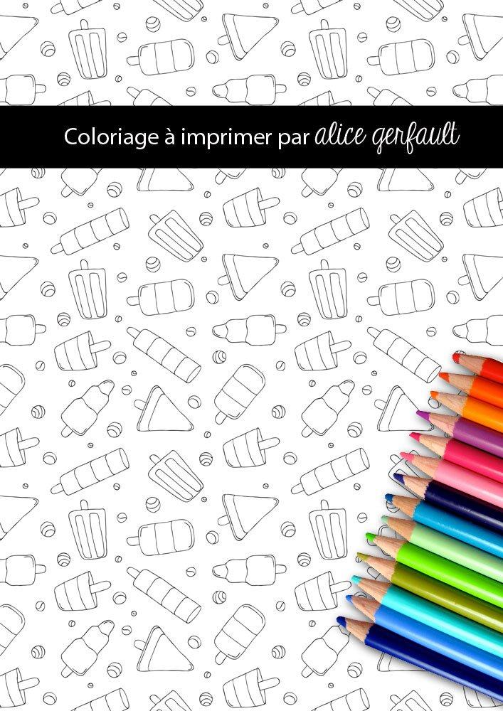 Page de coloriage Glaces par Alice Gerfault