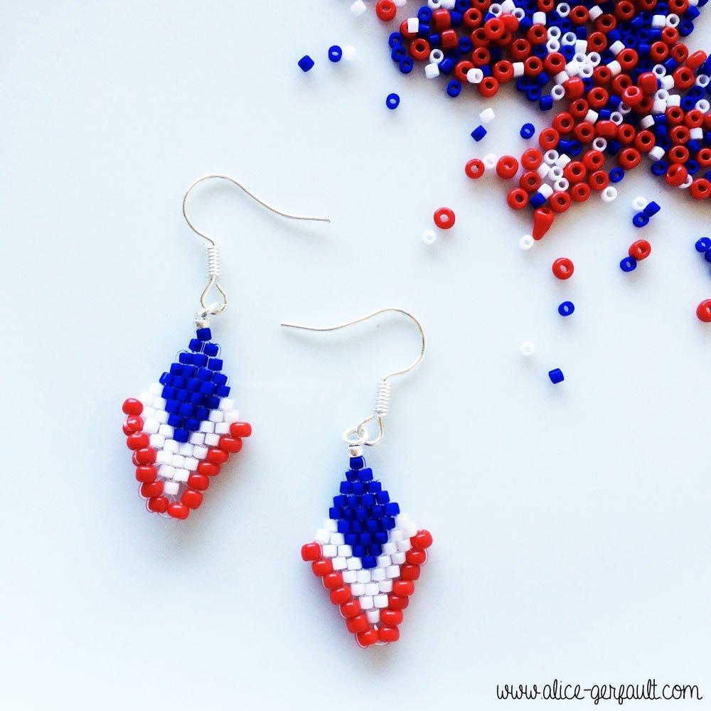 Boucles d'oreilles bleu-blanc-rouge, DIY par Alice Gerfault