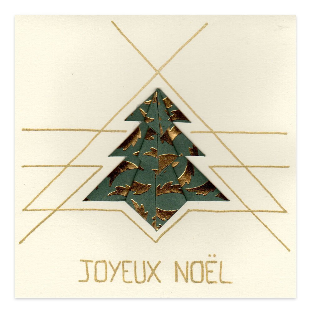 Carte No L Sapin Origami Vert Et Or Alice Gerfault