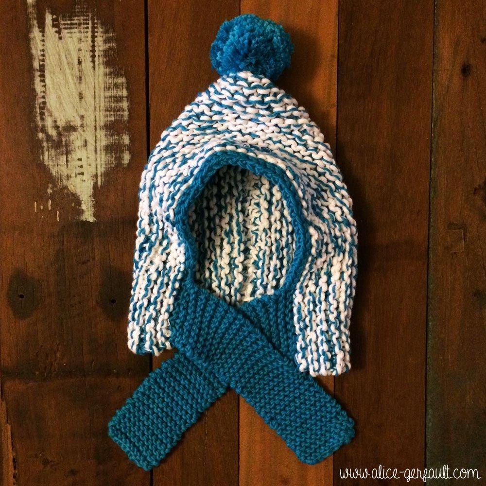 bonnet-écharpe pour bébé, tricot par alice gerfault