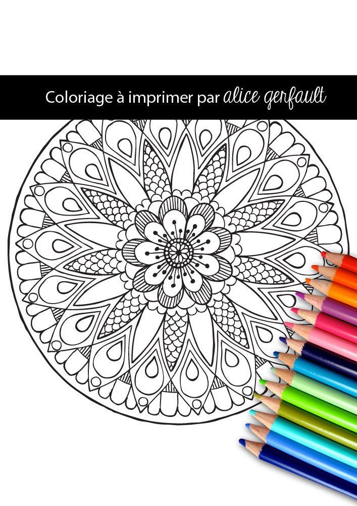 Mandala Fleur Coloriage Pour Adulte A Imprimer Alice Gerfault
