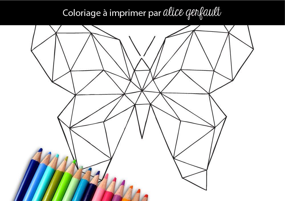 Papillon g om trique coloriage pour adulte imprimer for Dessin en forme geometrique