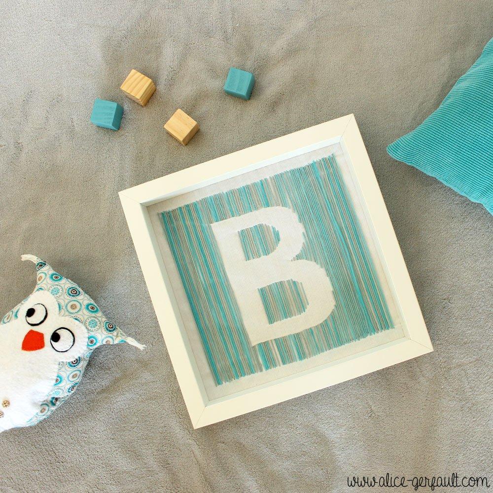 Cadre Initiale pour chambre bébé, DIY par Alice Gerfault