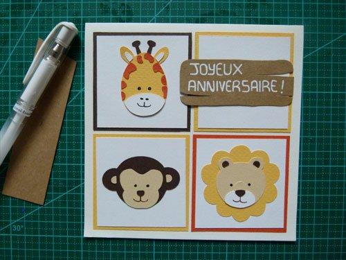Réalisation carte anniversaire enfant Safari, carterie par Alice Gerfault