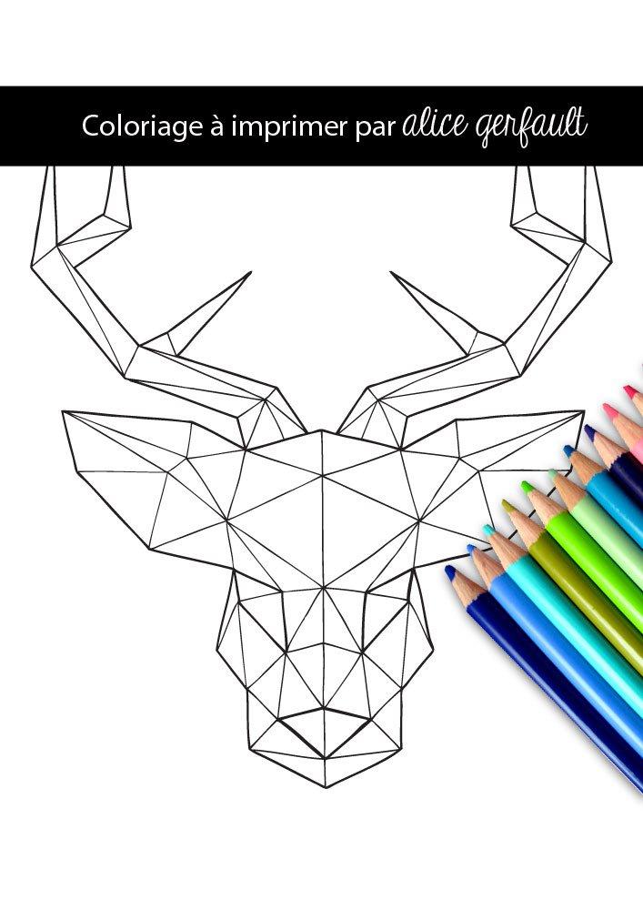 Cerf g om trique coloriage pour adulte imprimer alice gerfault - Coloriage geometrique ...