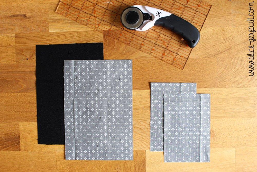 Etui de passeport,étape 1 découpe du tissu, DIY par Alice Gerfault