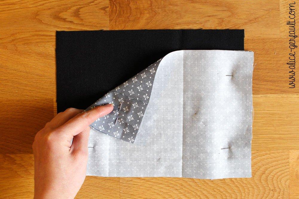 Etui de passeport,étape 4 endroit contre endroit, DIY par Alice Gerfault