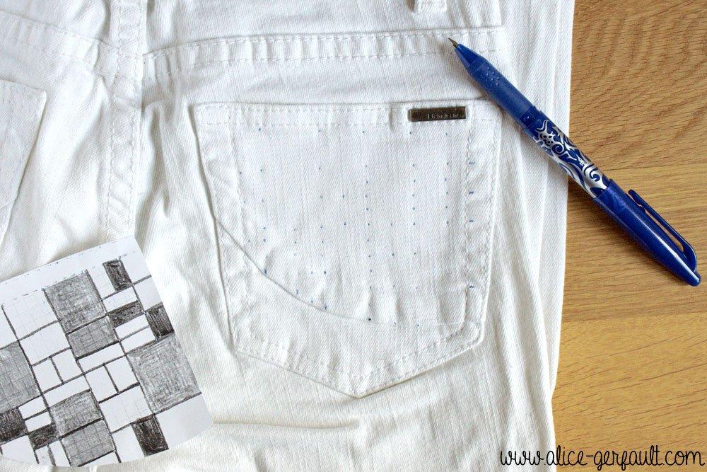 Customiser un jean avec de la broderie inspiration Mondrian, DIY par Alice Gerfault