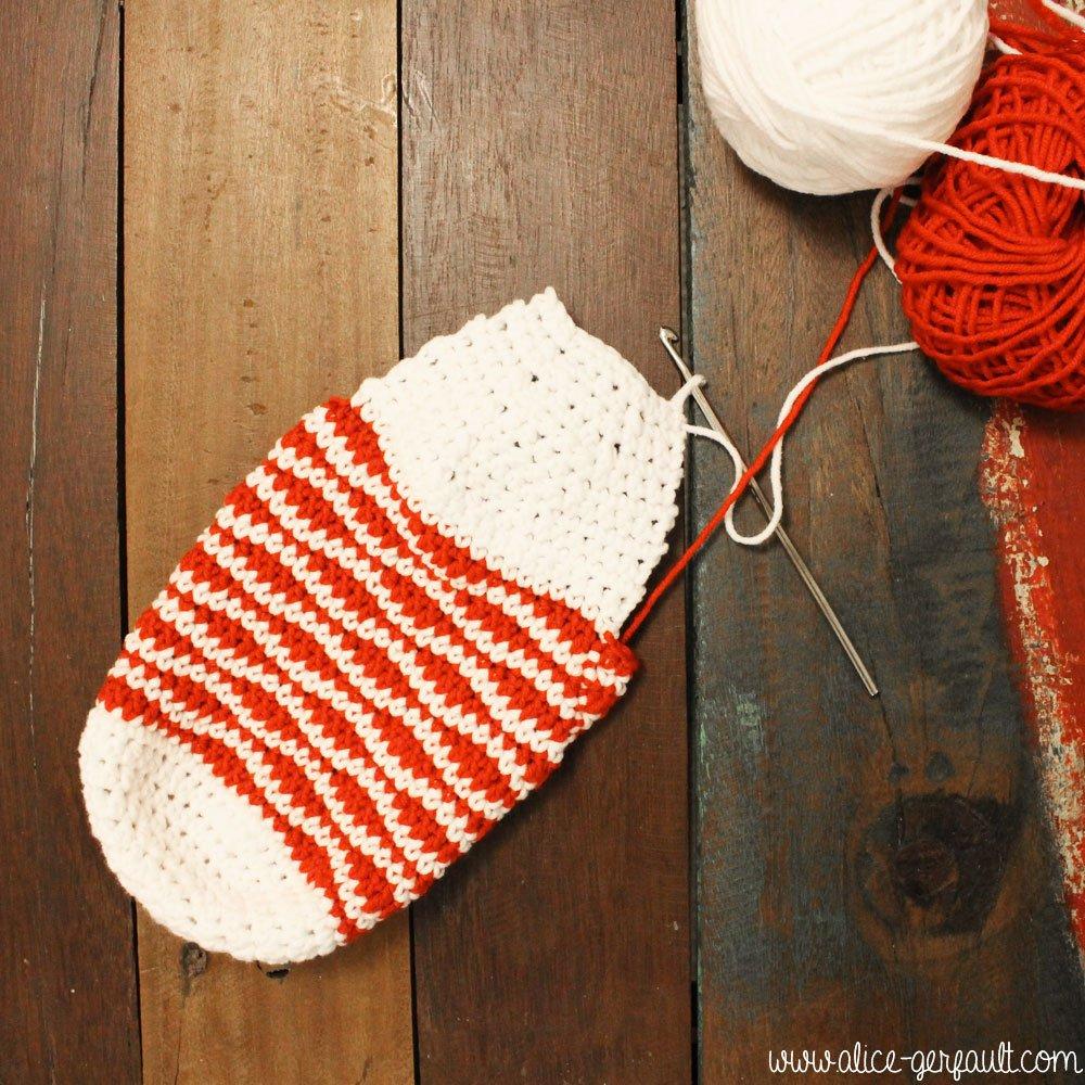 Chaussettes de Noël au crochet, explications par Alice Gerfault