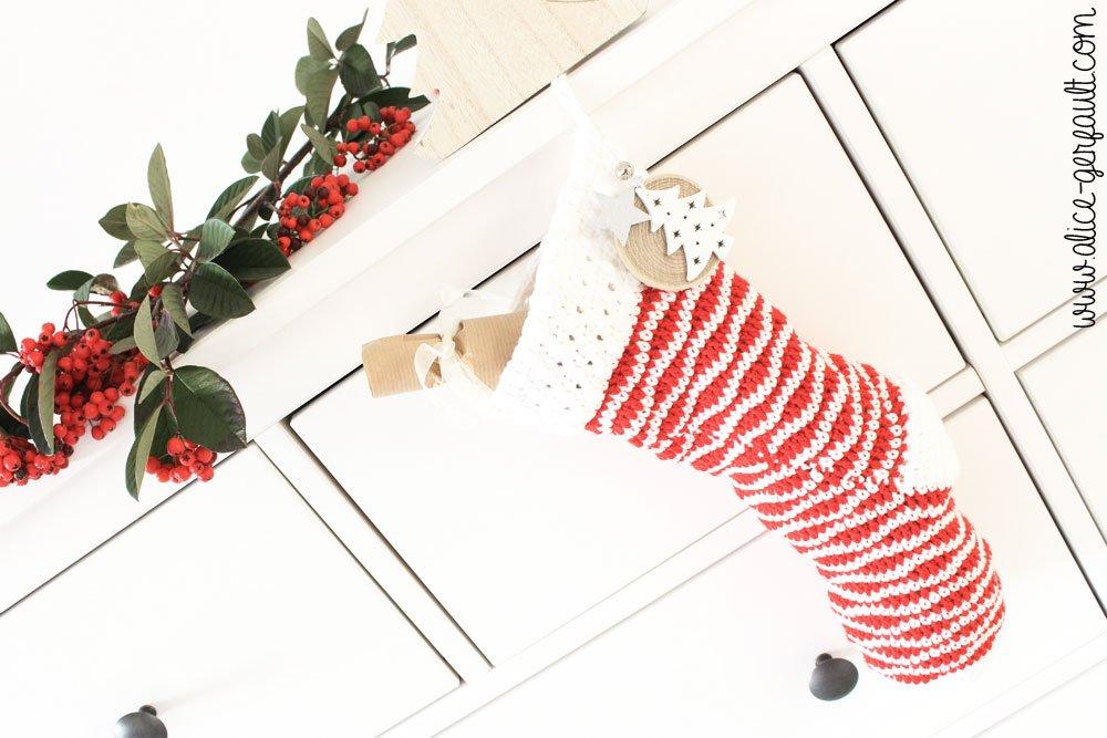 Chaussette de Noël au crochet, explications par Alice Gerfault