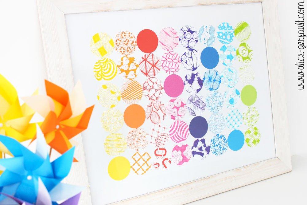 Tableau décoratif Zentangle, DIY par Alice Gerfault