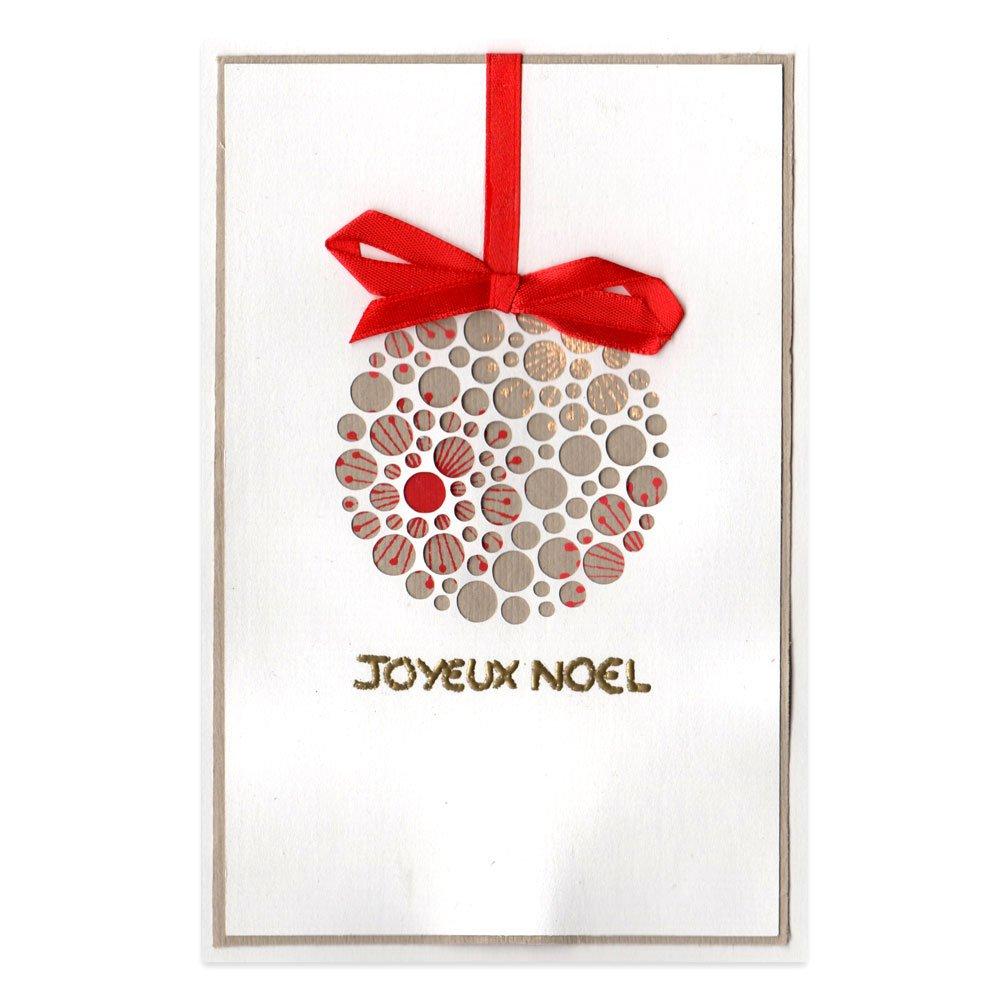 Carte Noël Boule de Noël rouge et or Alice Gerfault