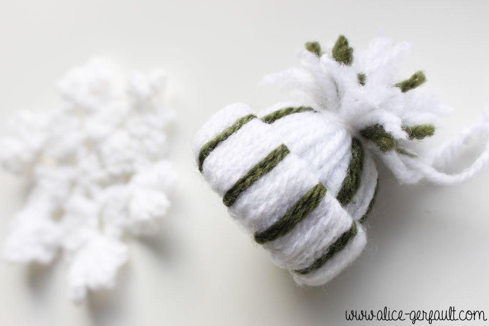Bonnet en laine, Ornements de Noël pour un sapin scandinave, DIY par Alice Gerfault
