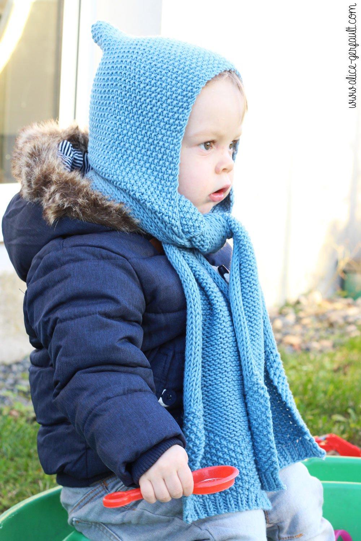 Echarpe-capuche pour jeune enfant (2ans) au tricot, DIY par Alice Gerfault