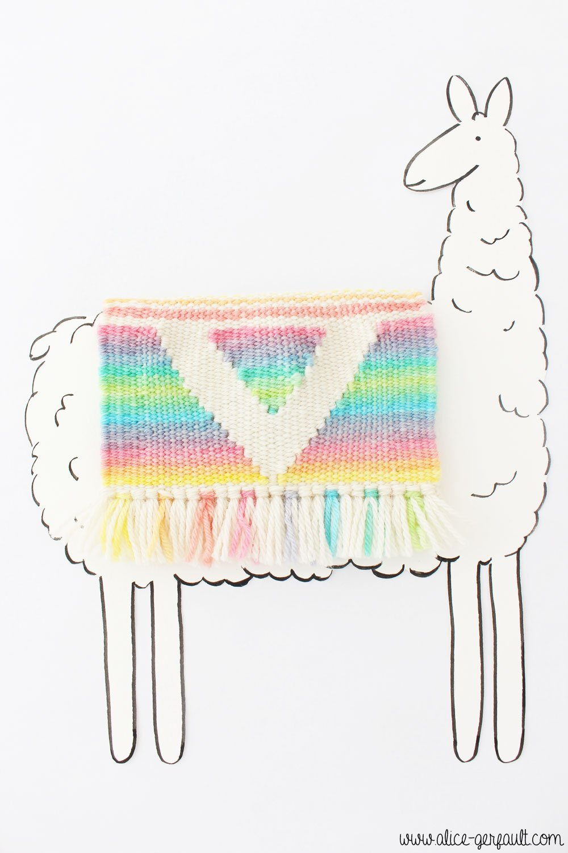 Cadre Lama illustration avec tissage, DIY par Alice Gerfault