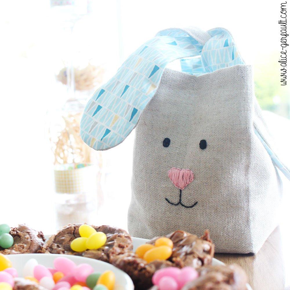 Panier lapin pour enfant, à coudre, pour faire la chasse aux oeufs de Pâques, DIY par Alice Gerfault