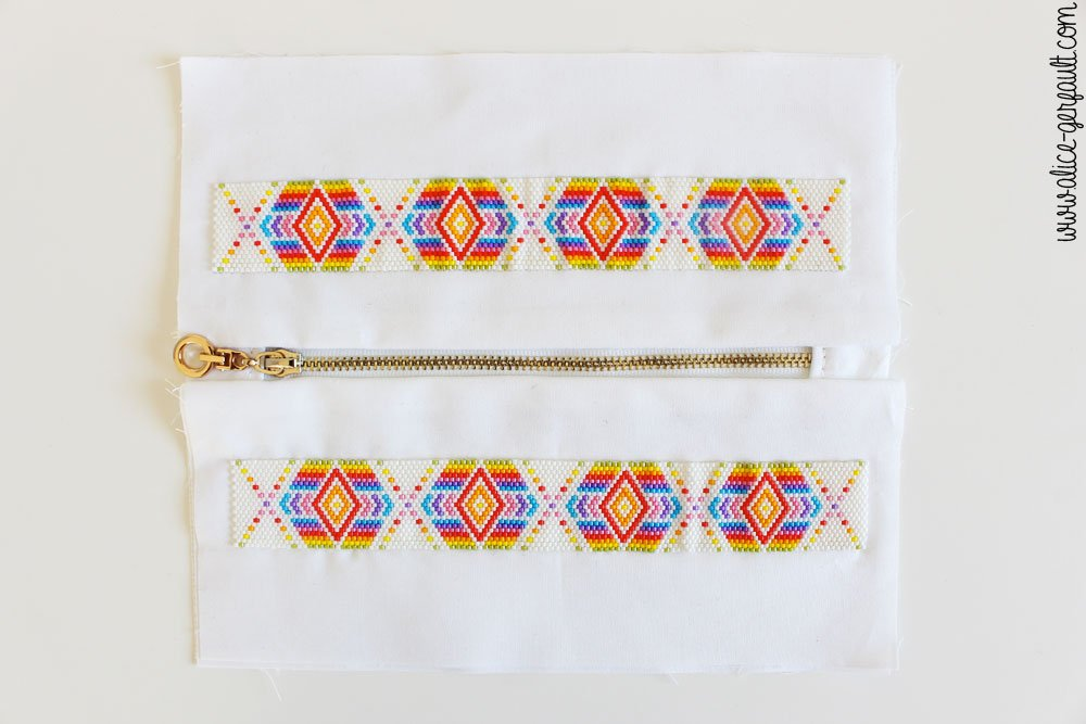 Trousse avec tissage arc-en-ciel en perles Miyuki, DIY Couture by Alice Gerfault