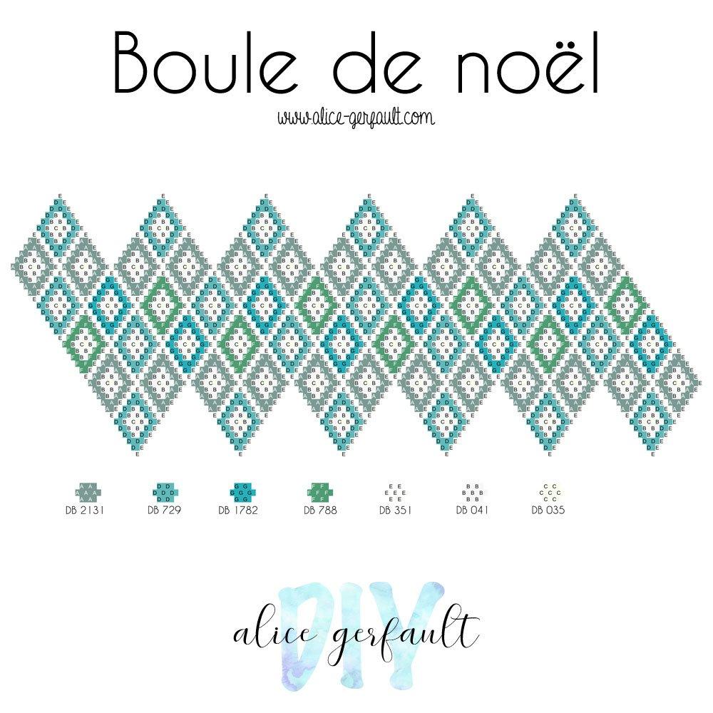 Diagramme boule de noël en perles miyuki et crochet, DIY by Alice Gerfault