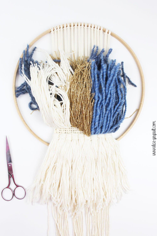 Tissage sans métier à tisser (trame macramé), DIY by Alice Gerfault
