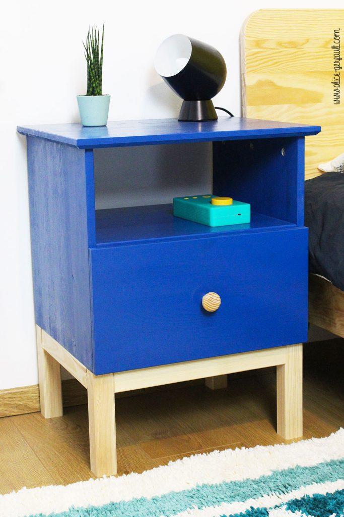 Table de chevet Tarva IKEA customisée, DIY by Alice Gerfault