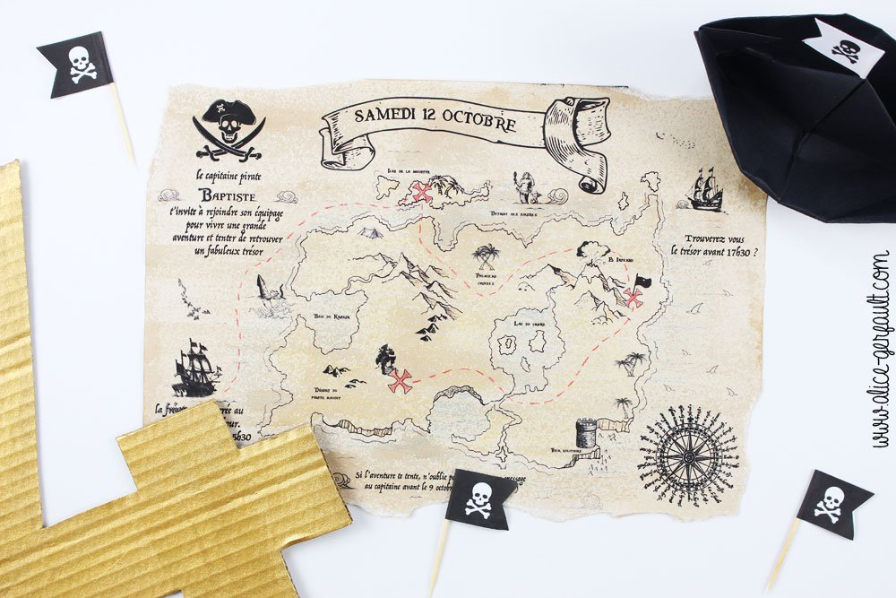 Invitation Anniversaire Pirate, DIY Alice Gerfault