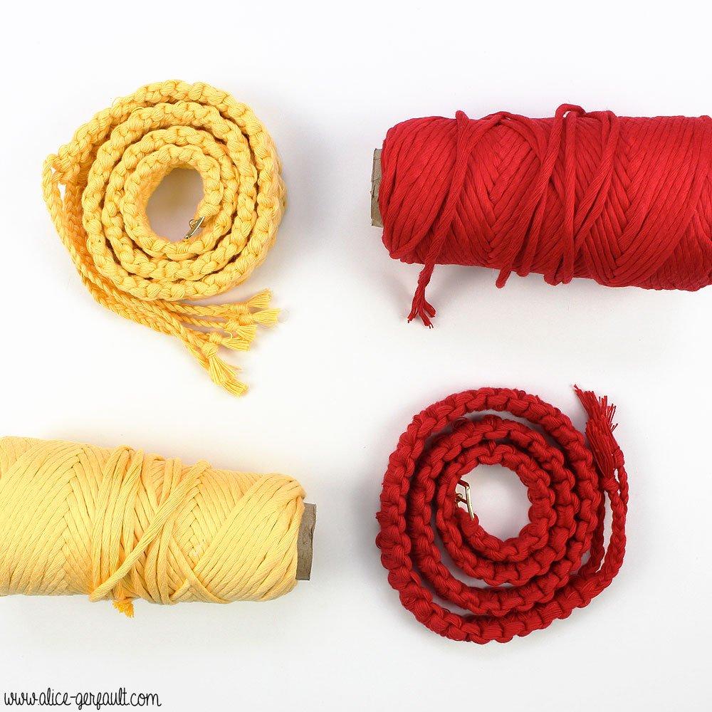 Ceinture macramé jaune et rouge, DIY Alice Gerfault