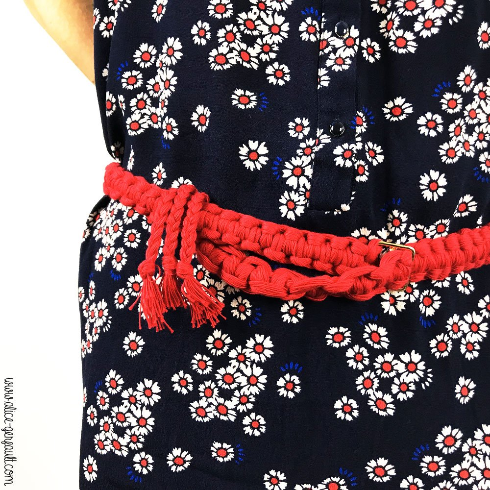 Ceinture macramé noeuds en tête d'alouette verticaux, DIY Alice Gerfault