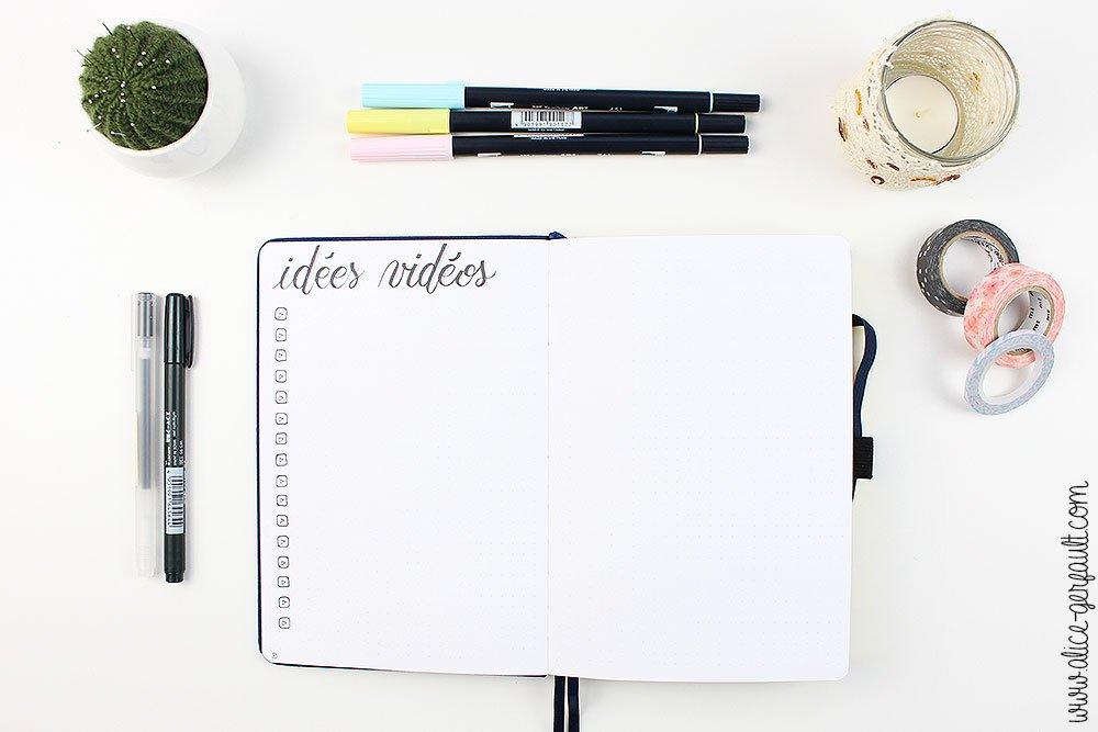 Bullet Journal 2020, Collection Idées Vidéos, DIY par Alice Gerfault