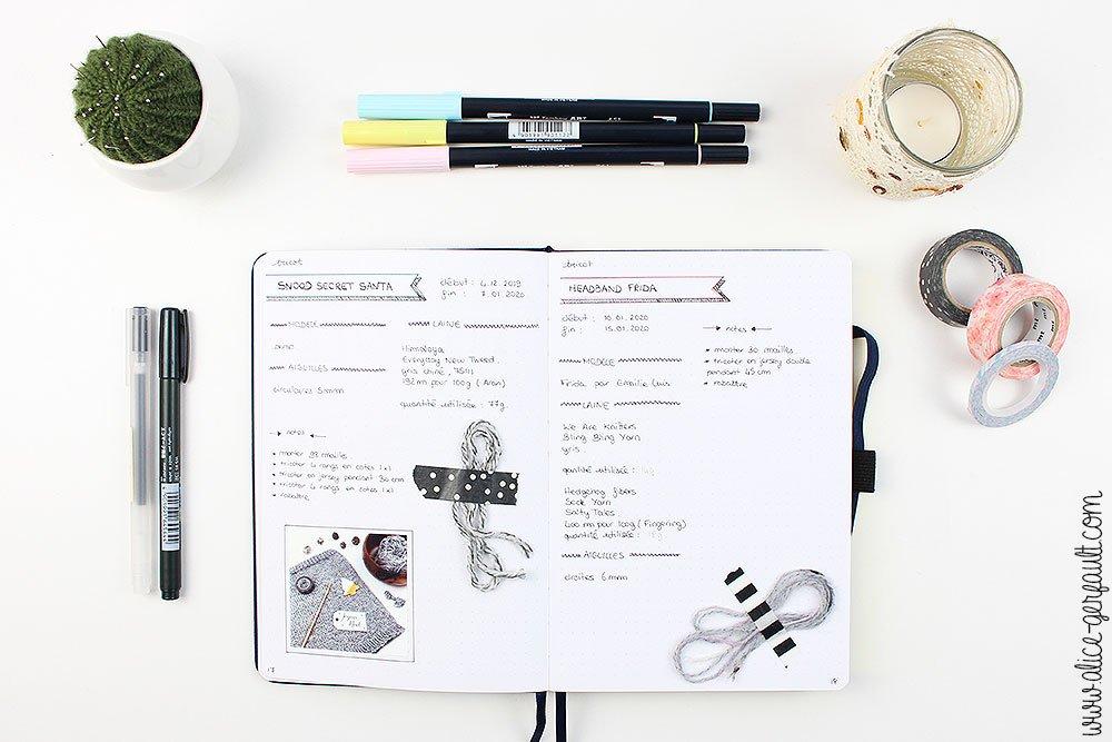 Bullet Journal 2020, Journal de bord tricot, DIY par Alice Gerfault