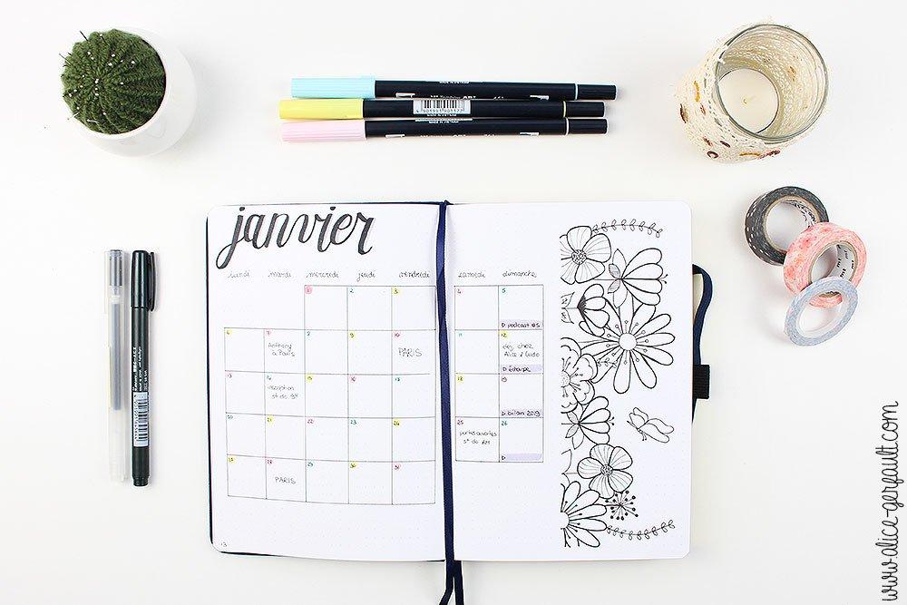 Bullet Journal 2020, Vue Mensuelle, DIY par Alice Gerfault